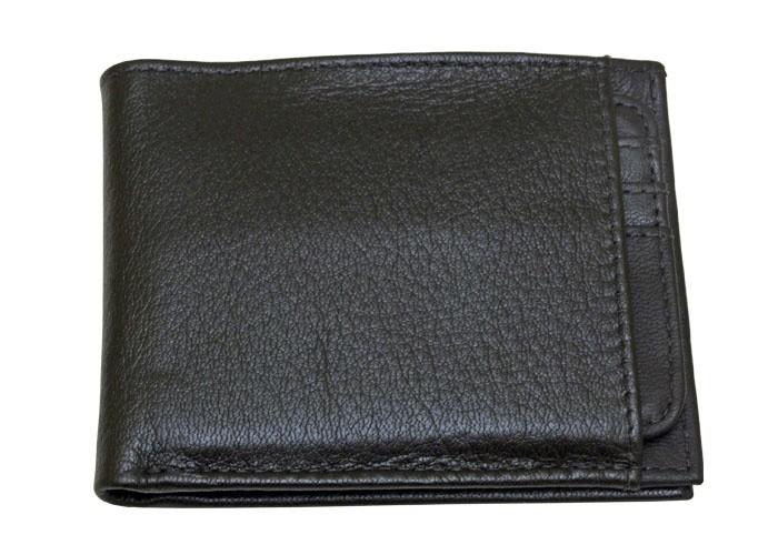 Carteira de couro com porta-cartõesPreto