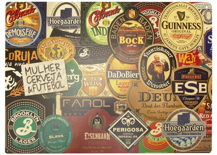 Placa Rótulos de Cervejas 40x30cm