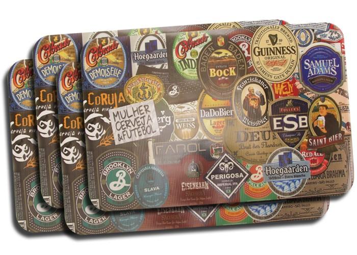 Jogo Americano Rótulos de Cerveja 4 peças