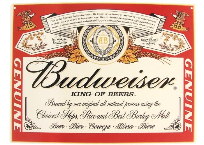 Placa Budweiser Rótulo 40x30cm