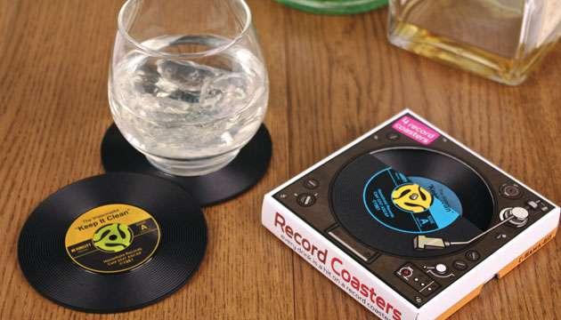 Kit com 4 Disco Porta Copos de Silicone - Vinyl Record