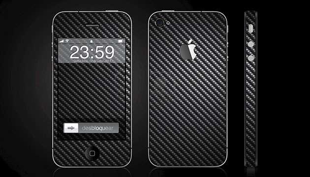Skin Fibra de Carbono Preta - iPhone 4/4S