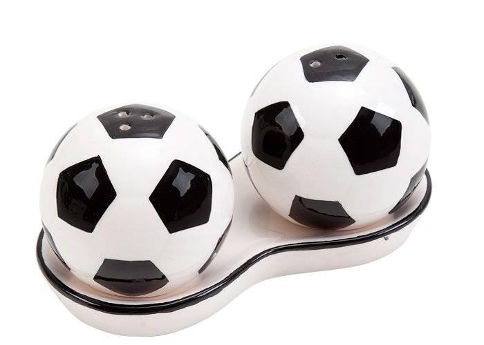 Saleiro e pimenteiro de bola de futebol