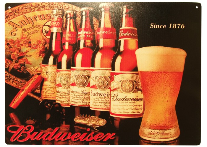 Placa Budweiser 40x30cm