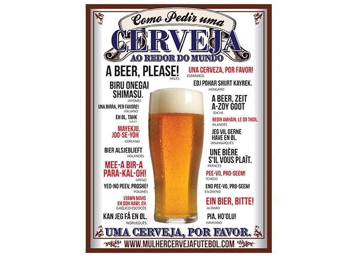 Placa Como Pedir uma Cerveja 40x30cm