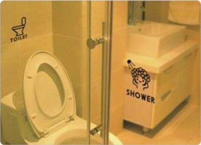 Adesivo de Parede - Chuveiro e Toilet