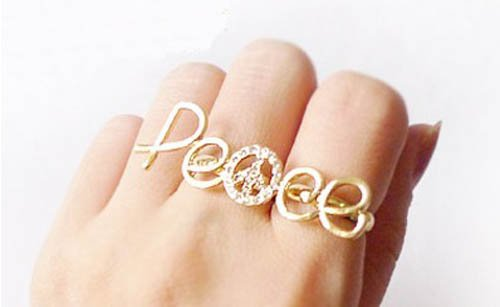 Anel de Dois Dedos PEACE