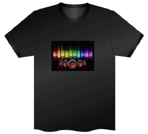 Camiseta LED Luminosa Ativada por Som - Equalize Caixas de Som