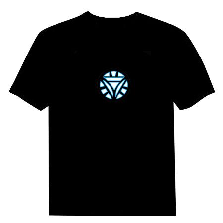 Camiseta LED Luminosa Ativada por Som - Homem de Ferro