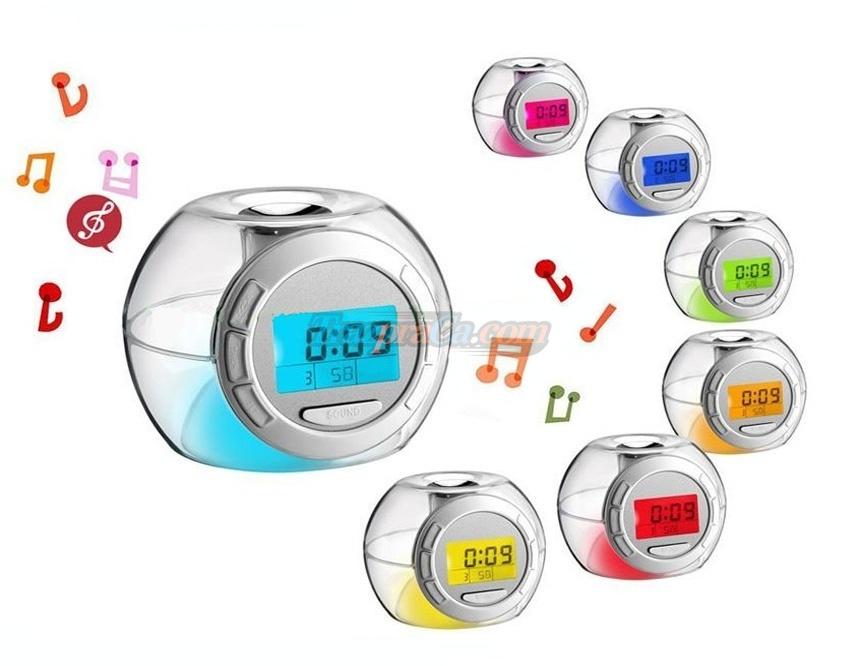 Despertador LED com som da natureza, Timer e Calendário