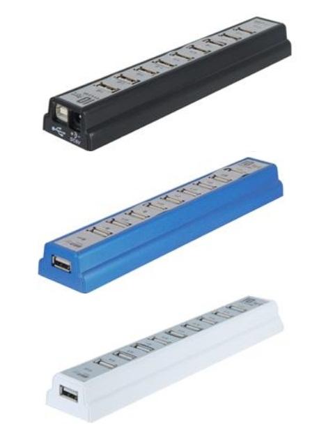 HUB com 10 portas USB 2.0 (Várias cores)