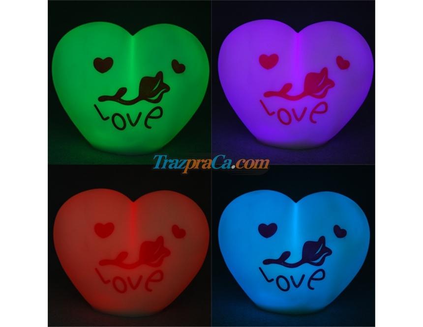 Luminária Romântica de Coração com 7 Cores LED