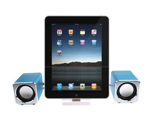 Mini caixas de Som com Suporte para iPad, iPhone e iPod