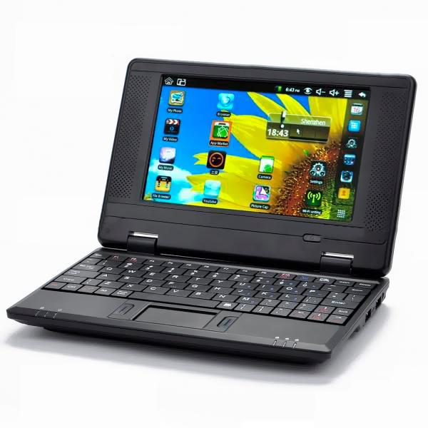 Netbook Wi-Fi com tela de 7 polegadas, Sistema Android 2.2, CPU VIA 8650 - Preto