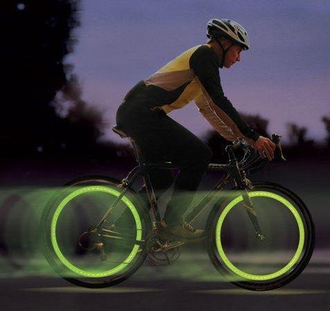 LED Sinalizador para Pneus de Bicicletas e Motos (verde, azul ou rosa)