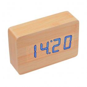 Relógio Despertador de Madeira LED com Termostato