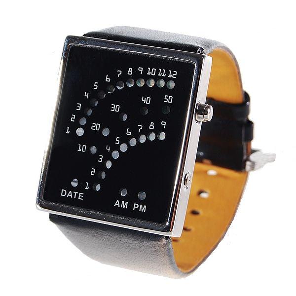 Relógio LED Matrix - Pulseira Preta e com 29 LEDs Azuis