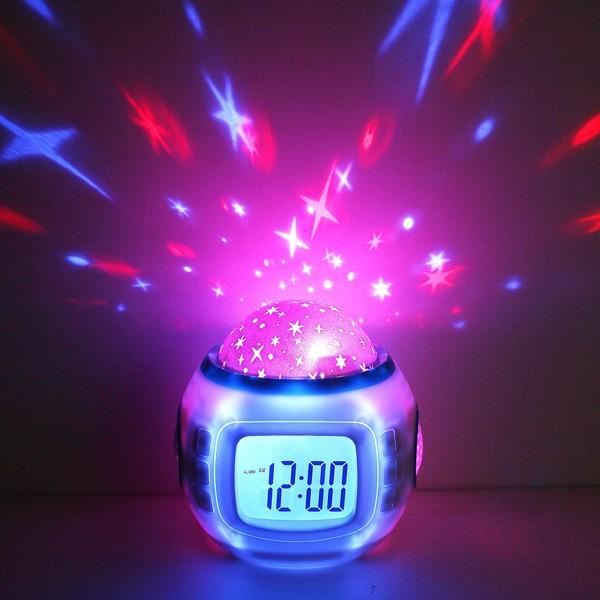 Relógio Projetor de Estrelas com Alarme