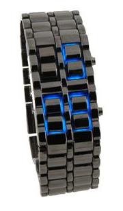 Relógio Samurai LED Azul (Pulseira Prata e Preta)