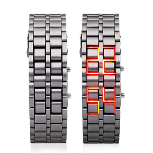 Relógio Samurai LED Vermelho (Pulseira Prata e Preta)