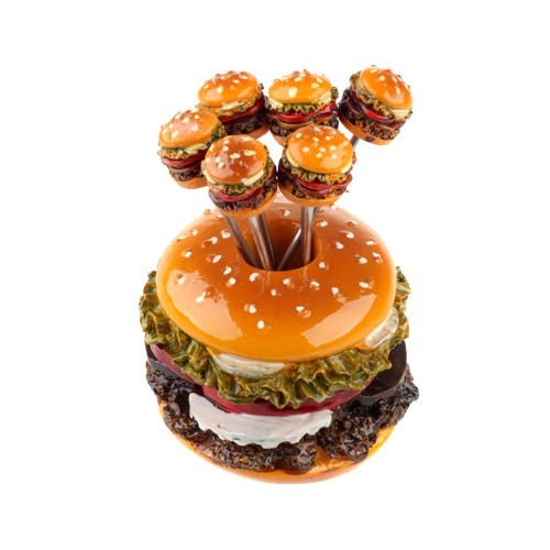 Set com 6 Garfinhos Decorativos de Hamburguer